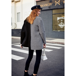 Image 2 - AEL Asymmetry Blazer casual Woollen jacket coat autumn winter fashion swallow gird based ladies fashion wear 2019 new