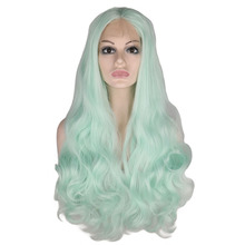 QQXCAIW Synthetic Lace Front Wig For Women Mint Green Glueless  26 Inch Long Natural Body Wave Heat Resistant Fiber Wigs