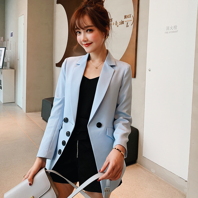 Casual Blazer Women Basic Notched Collar Solid Blazer Pockets Chic Tops Office Ladies Retro Double Button Suit Jackets Plus Size