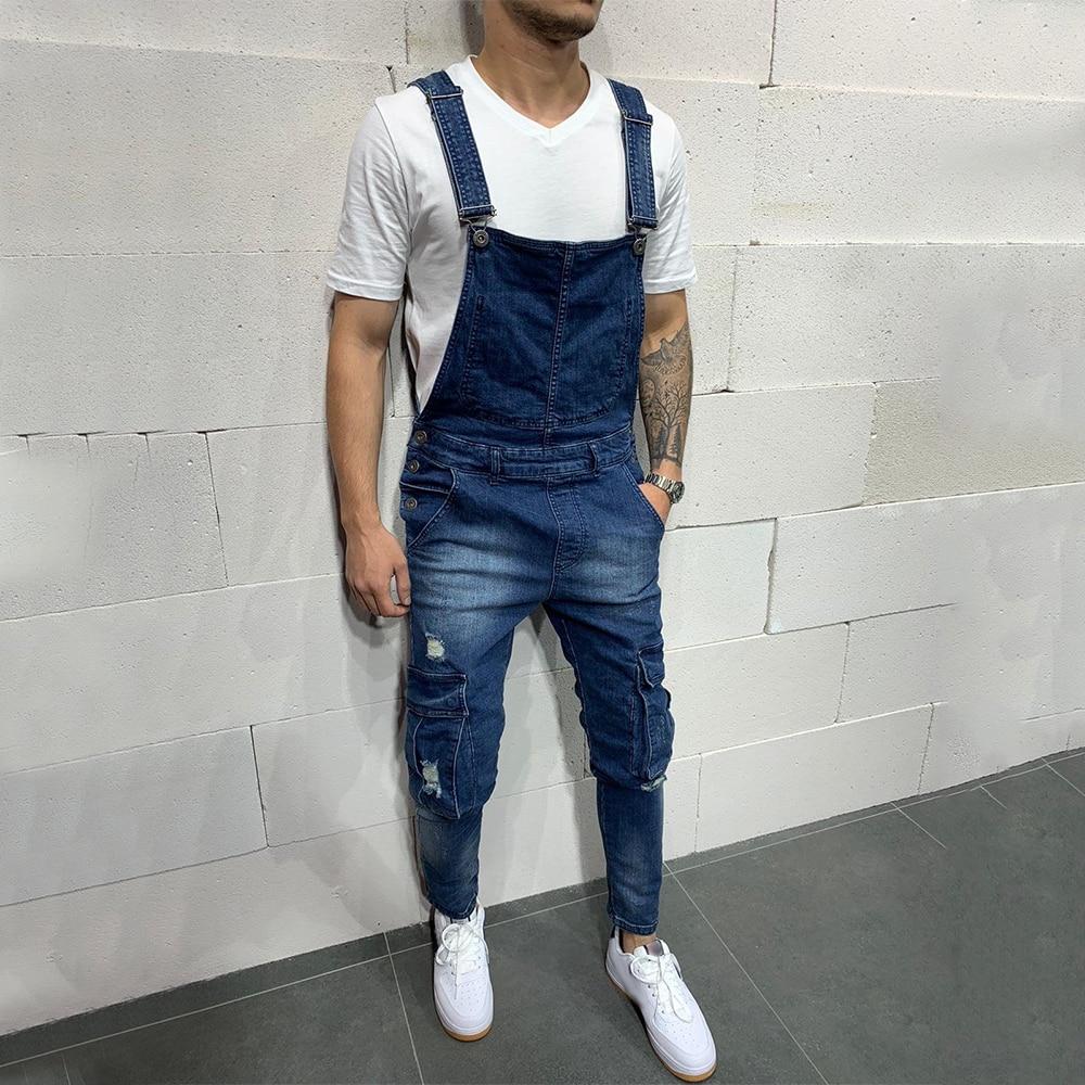 Black Jeans Men Ripped Big Pockets Jean Bib Pants Hip Hop 2019 Fashion Mens Denim Cargo Pants Jumpsuit Male Jeans Overalls D25