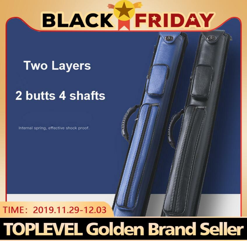 Two Layers PU Billiard Pool Cue Stick Kit Portable Case 2 Butts 4 Shafts/3 Butts 5 Shafts 85cm Length Black Blue Colors China