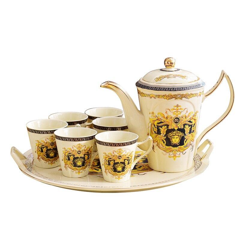 Tasses à café en céramique et ensemble de Pot créatif petit déjeuner lait tasse à café Drinkware tasse à thé écologique européen ensemble de thé cadeau de mariage