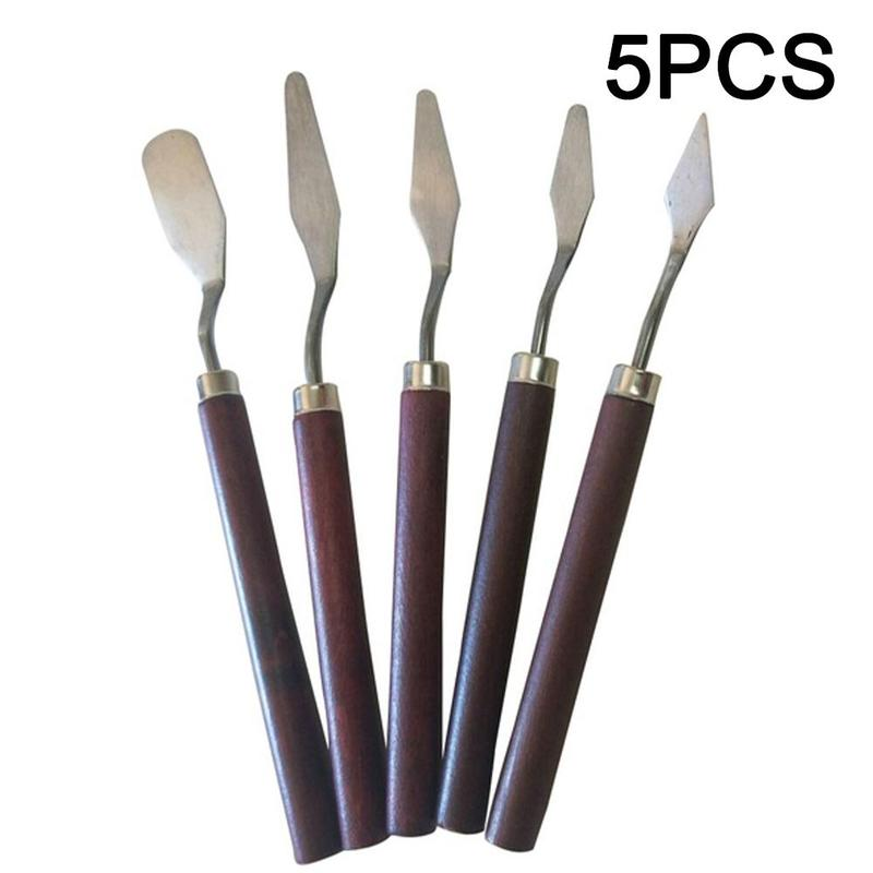 5pcs/set Professional Stainless Steel Spatula Kit Fine Art Palette Knife For Oil Painting Utility Knife Drawing Tool For Artist