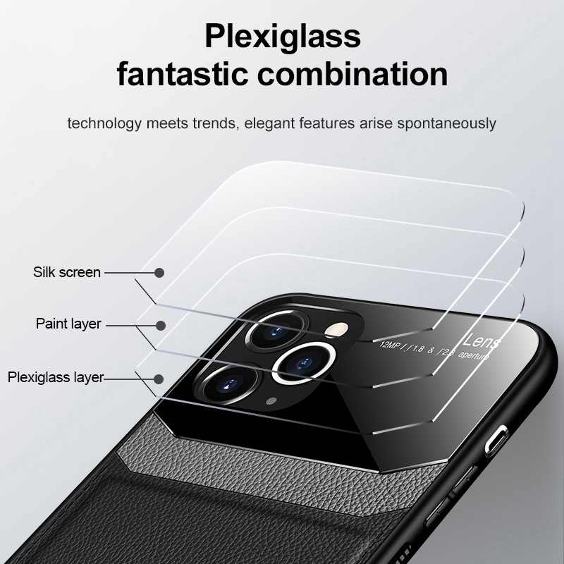 Deri pleksiglas kılıf apple iphone 11 pro max 2019 durumda bir iphone aphone aifon aifone xr xs max x 7 6 8 artı coque kapak