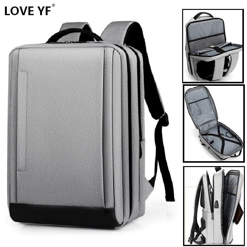 Men's Backpack 15.6 Inch Laptop Backpacks Business Notebook Mochila Waterproof Back Pack USB Charging Travel Bags Student Bag
