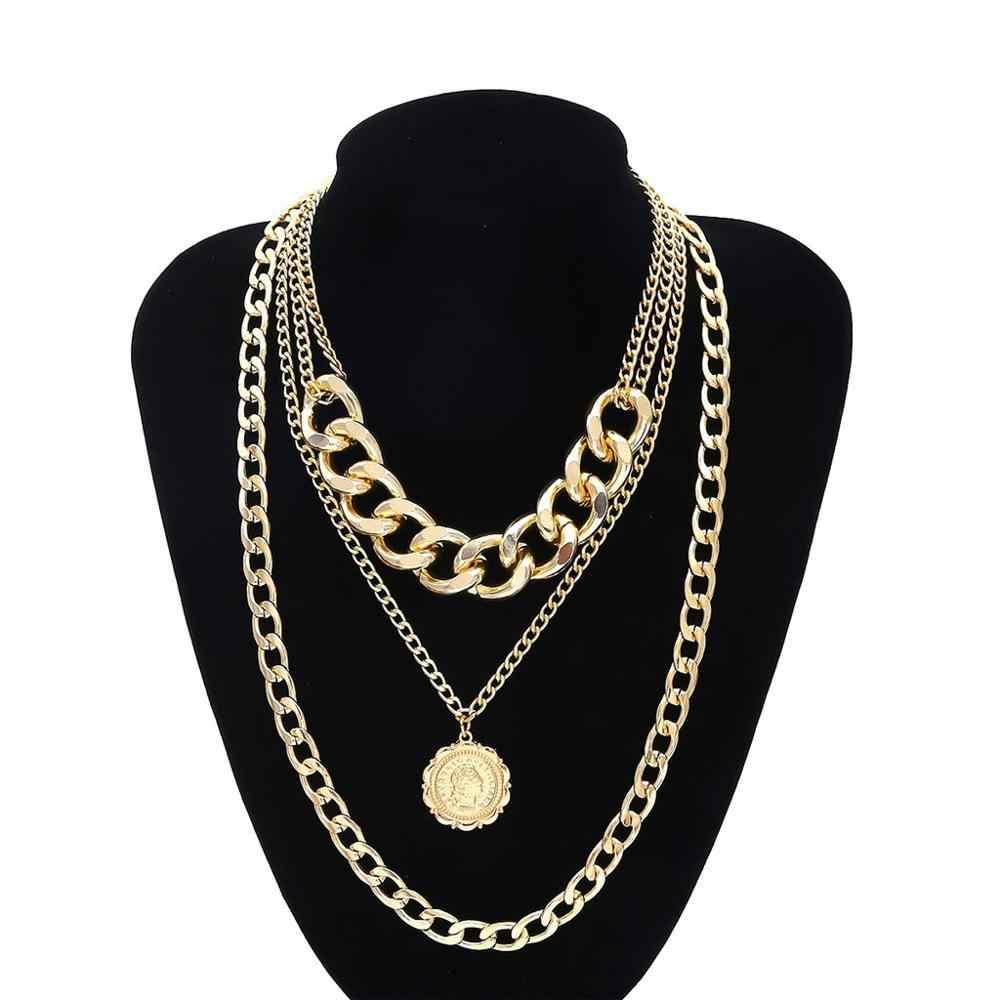 Masywny złoty naszyjnik kłódka wisiorek medalion moneta łańcuszek warstwa srebrny подвеска кулон wisiorek bts bangtan 2019 #4U13