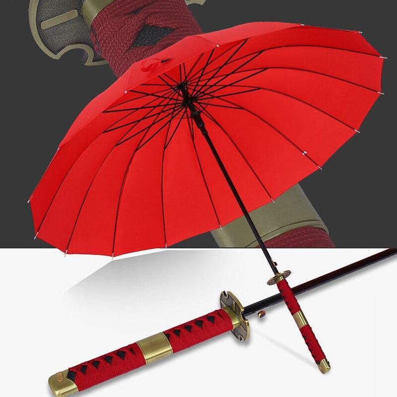 Criativo japonês ninja-como guarda-chuva samurai espada homem grandes guarda-chuvas chuva feminino à prova de vento longo lidar com sombrilla automatico aberto