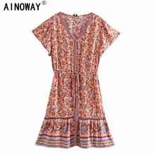 Vintage chic women floral print deep V neck Vacation Bohemian mini dress  Ladies short sleeve botton Boho dresses vestidos