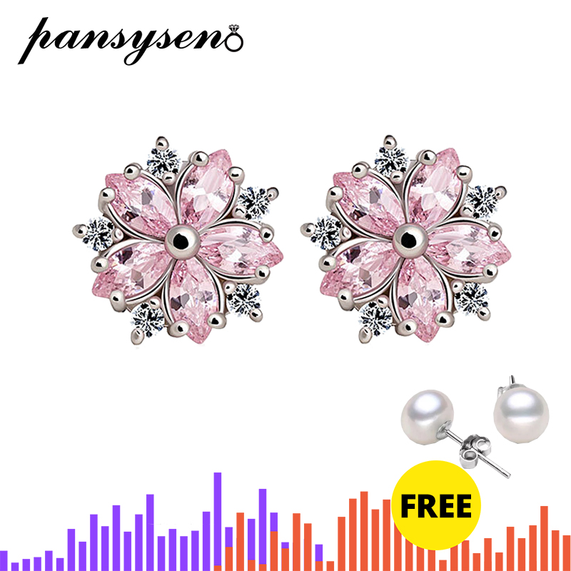 PANSYSEN 2019 New Design Snowflake Pink Quartz Women's Earrings 925 Silver Jewelry Stud Earrings Wholesale Engagement Jewellery