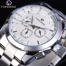 цена на Forsining Automatic White Men Mechanical Watch 6 Hands Date Day Stainless Steel Belts Business Dress Wrist-Watch Erkek Kol Saati