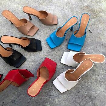 ¡Novedad de 2020! Zapatillas de moda para mujer, sandalias con tacones altos, sandalias deslizantes con punta cuadrada, zapatos de mujer deslizantes de verano