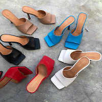 2020 New Arrivals Women Fashion Slippers High Heels Sandals Slides Square Toe Slip On Square Toe Mules Shoes Woman Summer Slides