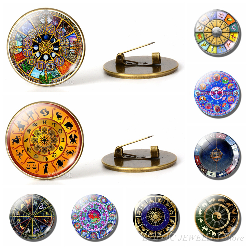 12 Constellation Brooches Handmade Zodiac Signs Brooch Pins Men Women Glass Cabochon Jewelry Findings Bag Bronze Gift
