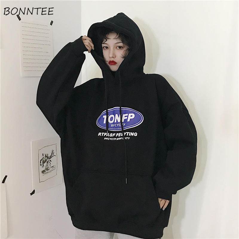 Hoodies Womens  Loose Plus Velvet Korean Students Style Harajuku Thick Streetwear Sweatshirts Casual Women Vintage Trendy Chic