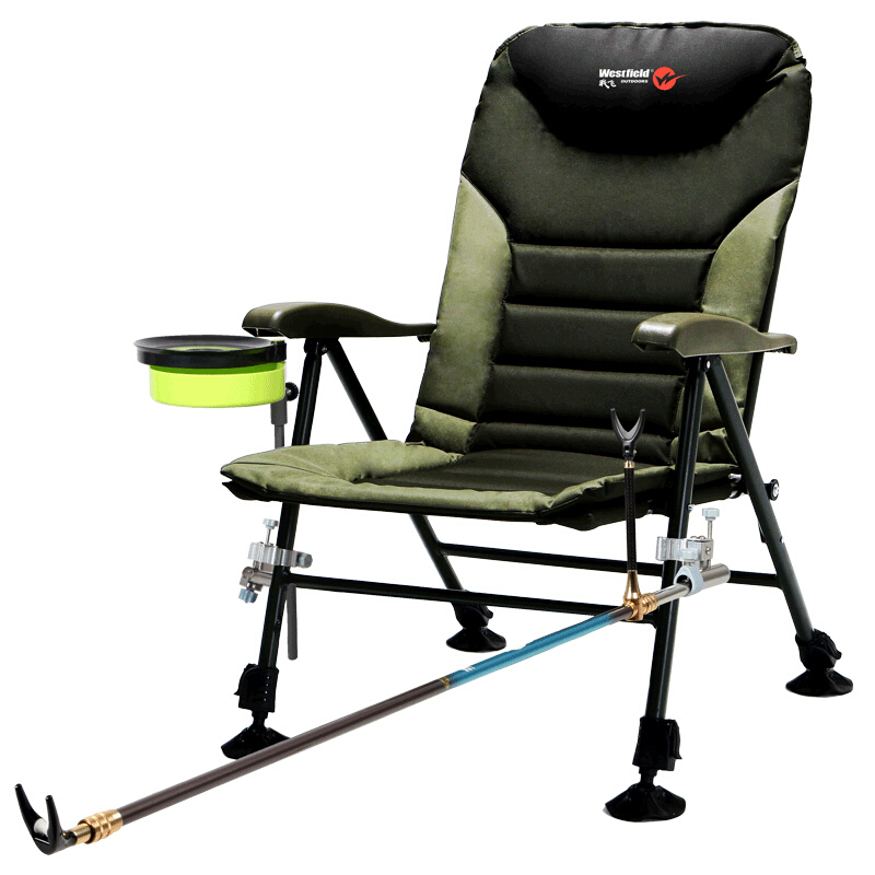 L70 Foldable Fishing Chair Heavy Camp / Fishing Chair Adjustable Backrest With Rod Holder And Bait Cup Multi-function Household