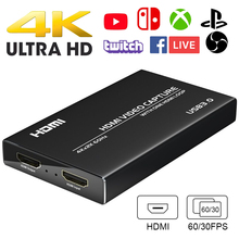 4k 60hz hdmi para usb 3.0 placa de captura de vídeo 4k dongle hd gravador de vídeo grabber para obs captura jogo jogo captura cartão ao vivo