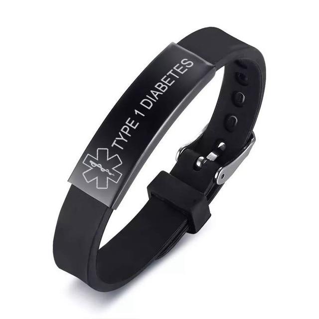 Black Stainless Steel Silicone Medical Alert ID Bracelet DIABETIC EPILEPSY SOS Bracelets Engraving Wristband For Men