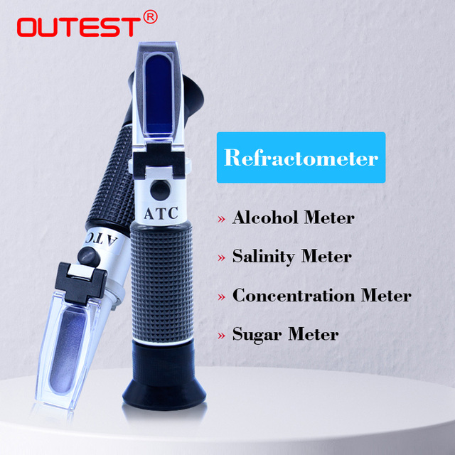 Réfractomètre sucre/miel/bière Brix analyseurs alcoolo mètre Auto réfraction antigel eau de mer salinité testeur lait mètre