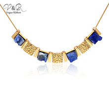 цены New Trendy Necklace 2020 Semi-precious Stone Handmade Layered Necklace Initial Necklace Gold Plated Pendant Necklaces For Women