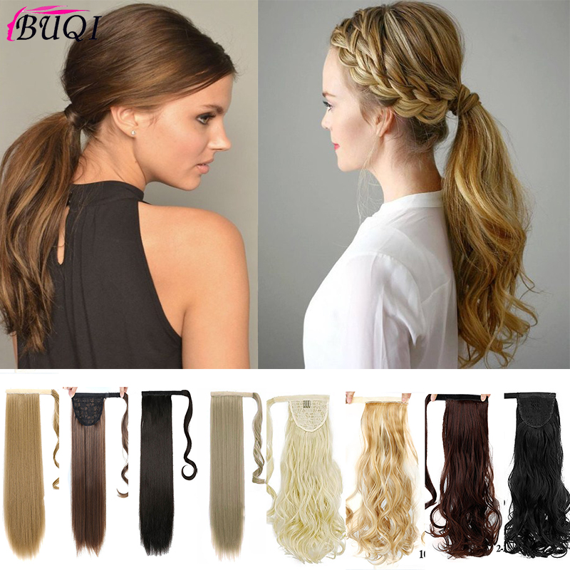 Long Straight Ponytail Clip Tail Synthetic Hair Extension Wrap  Hair  Accessories Pieces Fake Ponytail  For Fashion Woman