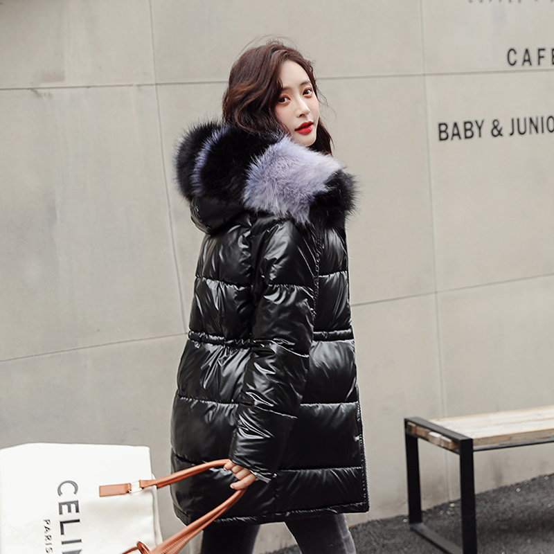 Slim Womens Winter Jackets And Parkas  2019 Coats For Women Wadded Jackets Warm Outwear With A Hood Large Faux Fur Collar