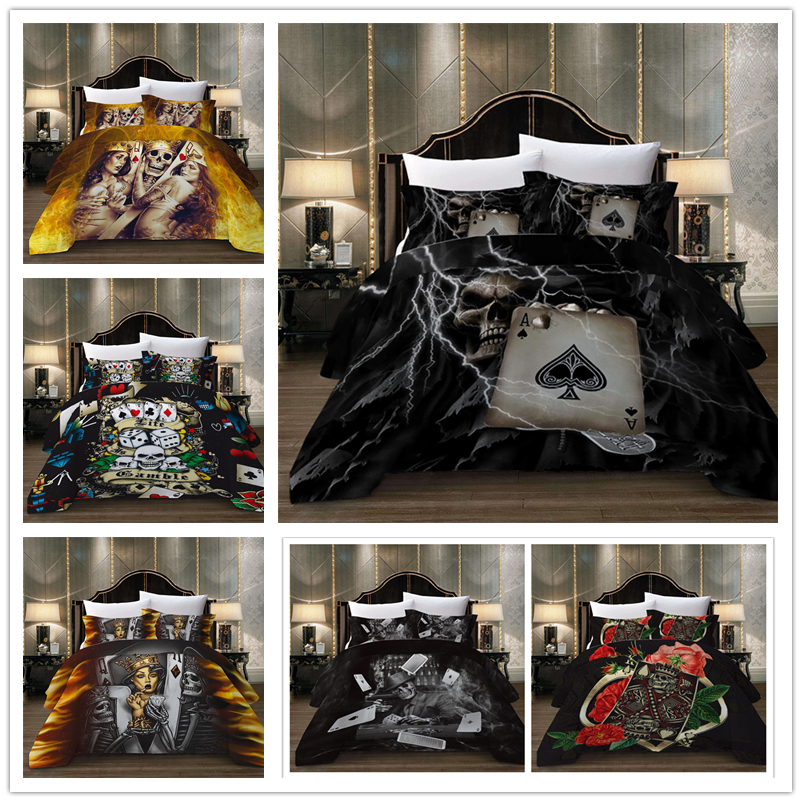 Popular Skull Series Bedding Set With Poker Rose Diamond Duvet Cover Set Soft High Quality Twin Full Queen Size Of Bed Set