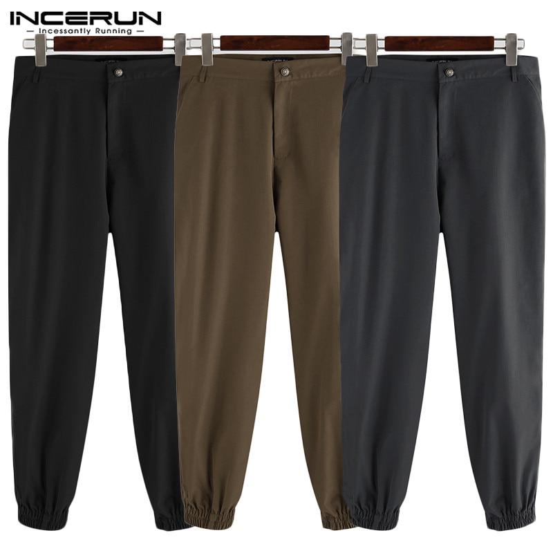INCERUN Men's Pants Solid Color Joggers Streetwear Button Casual Pantalones Hombre Fashion 2020 Leisure Trousers Men Plus Size