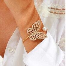 Brazaletes con dije de mariposa de color dorado, brazalete con brazalete de diamantes de imitación B10441