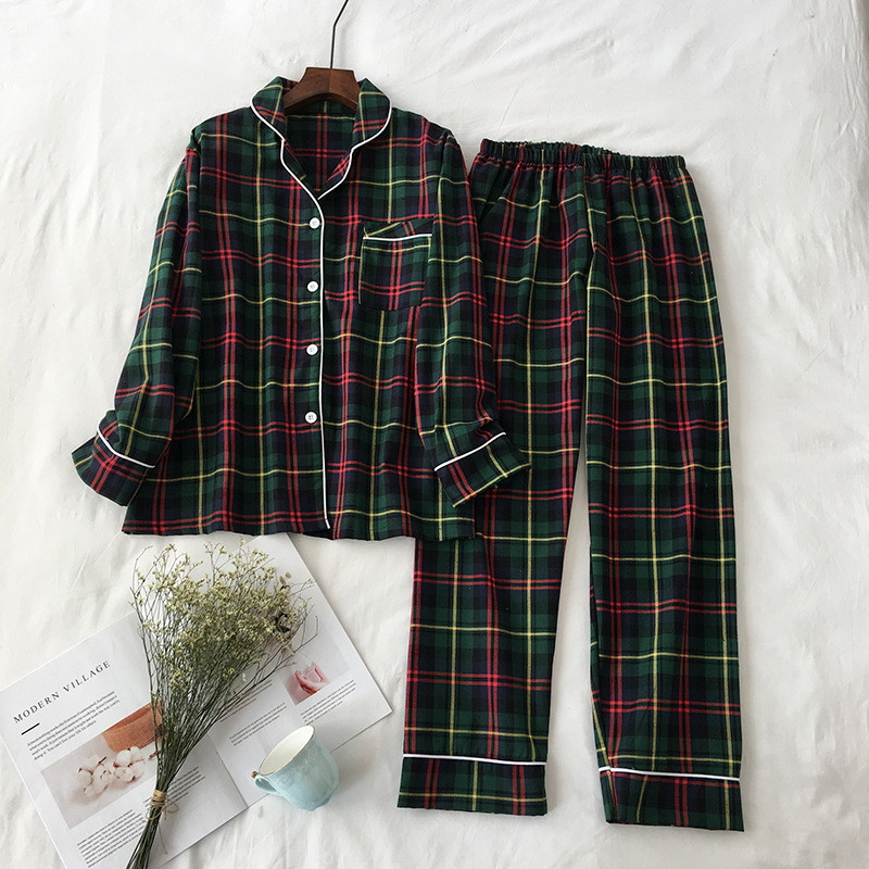 JULY'S SONG 2 Pieces Pajamas Set Cotton Plaid Women Leisure Printing Soft Long Sleeve Trousers Spring Autumn Sleepwear Homewear