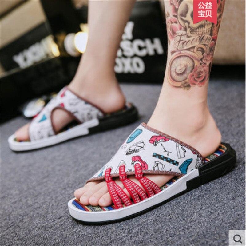 Men's Summer Trend New Sandals Non-slip Flat Soft Bottom Wear Flip-Flops Beach Shoes Personality Slippers Slide Lovers Shoes