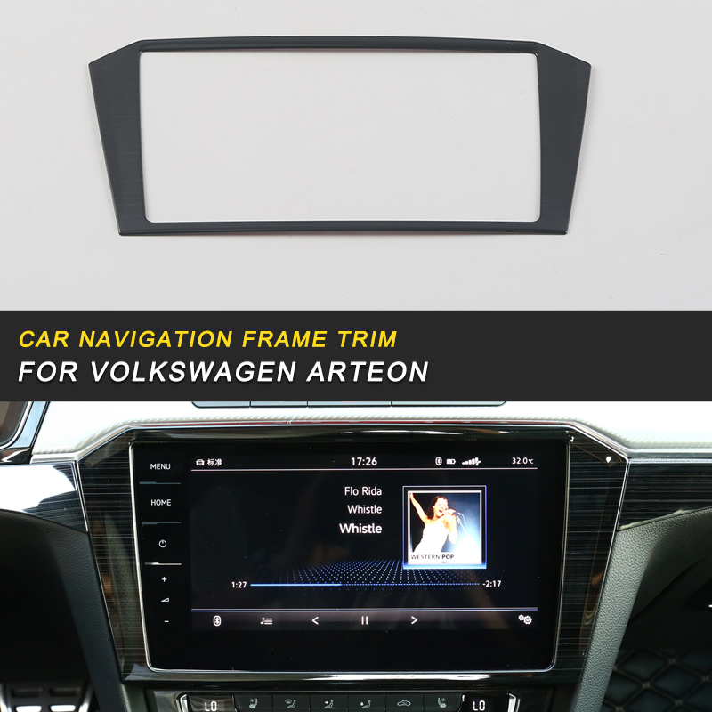 Car Navigation Screen Monitor Panel Cover Trim Frame Sticker Chrome Interior Accessories For VW Volkswagen Arteon 2019