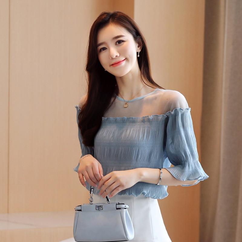 Korean Chiffon Blouses Women Mesh Blouse Tops Plus Size Woman Solid Blouses Blusas Femininas Elegante Camisas Mujer Women Tops