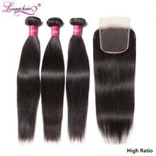 ストレートヘアの束でブラジル毛織りバンドル remy 毛 3 バンドルと閉鎖 longqi 人毛