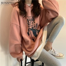 Hoodies Women Loose Thickening Printed Korean Style Students Solid Hip Hop Sweatshirts Hooded New All match BF Ulzzang Casual