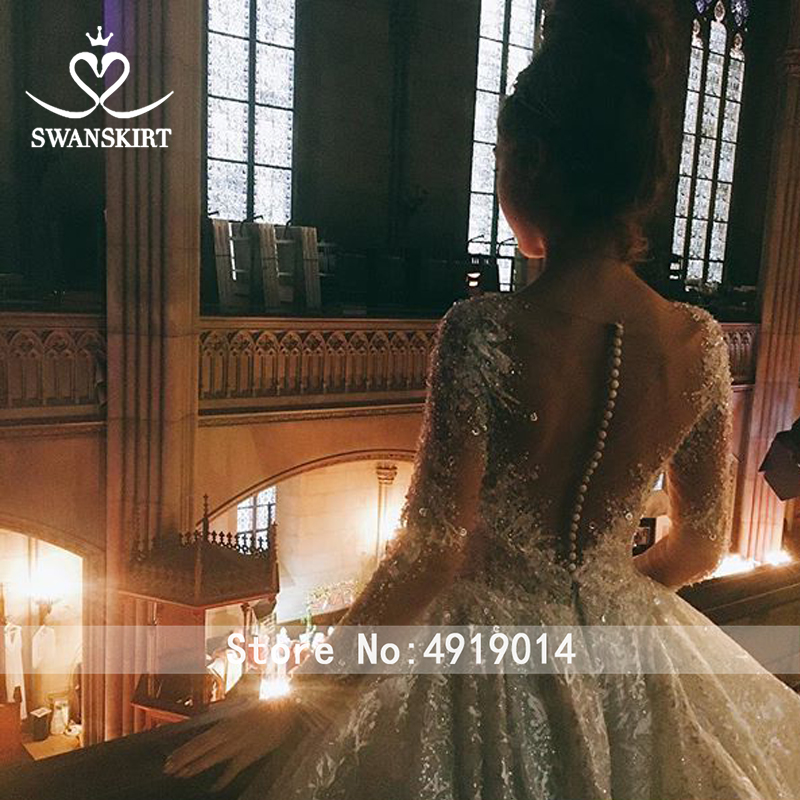 Image 3 - Luxury Long Sleeve Wedding Dress 2019 Swanskirt Sweetheart Appliques Tulle Ball Gown Princess Bridal Gown Robe De Mariage U144-in Wedding Dresses from Weddings & Events