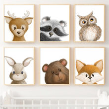 Coelho raposa veados urso coruja guaxinim berçário arte da parede pintura da lona nordic posters e cópias fotos de parede do bebê crianças quarto decoração