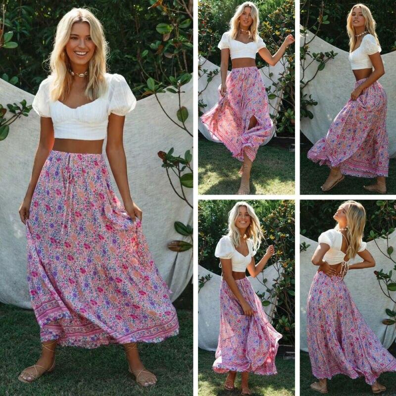 STOCK Women Floral Vintage High Waist Beach Skirts Joker Skinny Long Lace Up Maxi Skirt