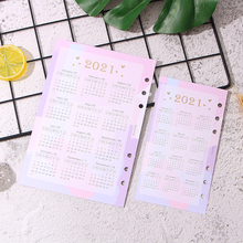 2021 Calendar Index Divider for 6 Holes Diary Binder Weekly Planner Notebooks A5 A6 Chedule Inner Page Card