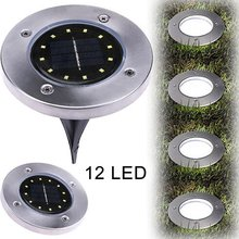 1/2/4 Pcs 12 Leds Solar Power Buried Light Underground Lamp Upgraded LED For Outdoor Path Way Garden Decking