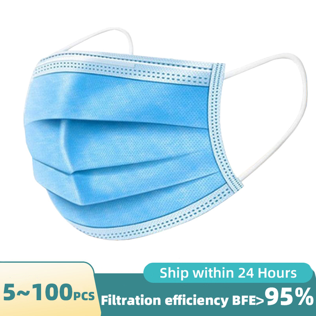 Safety Face Masks, Disposable Earrings Mask Filtering Breathable Beauty 3 Layers