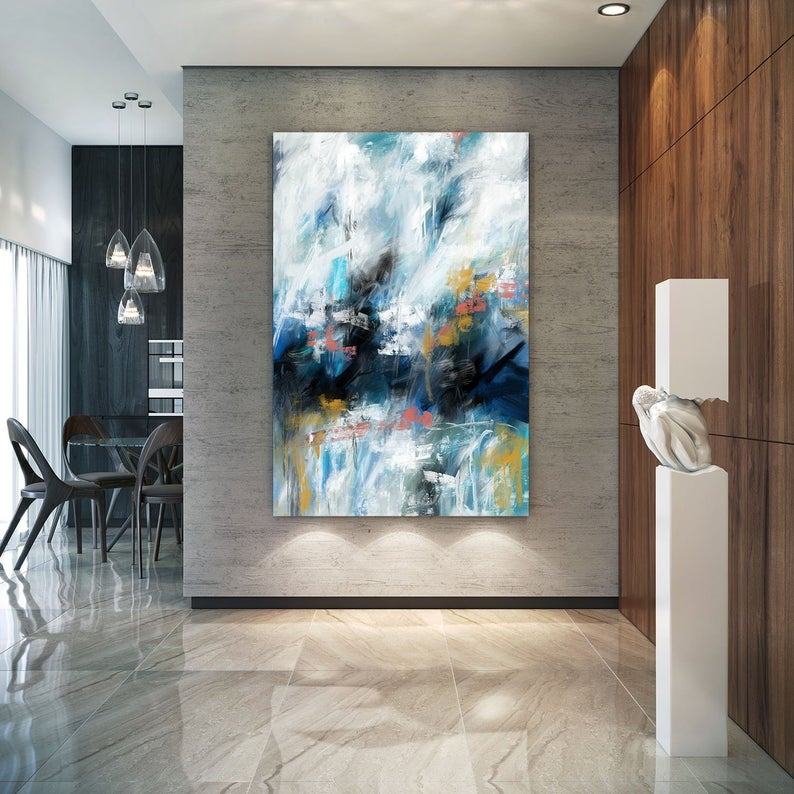 Large Framed Wall Art MODERN ABSTRACT OIL PAINTING Canvas Contemporary art Decor