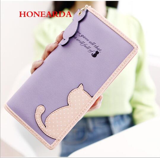 Wholesale Wallet Women PU Leather Clutch Bag Long Hasp Cat Purses Women Wallets 150PCS/lot
