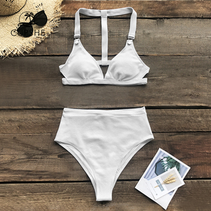 CUPSHE Solid White High-Waisted Triangle Bikini Sets Sexy Padded Cups Swimsuit Two Pieces Swimwear Women 2020 Beach Bathing Suit