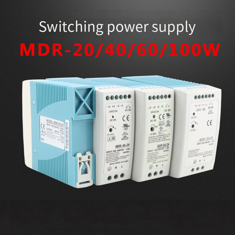MDR-10 20 30 40 60 100 12V 24V  10W 60W100W Din Rail power supply ac-dc driver Transformers for LED Strip Light 120V to 370V-4