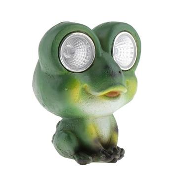 ירוק צפרדע פסל עם שמש אור עיני לבית גן חיצוני קישוטי דקורטיבי חמוד צפרדע קישוט