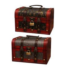 Сундук с замком, коробка для косметики, ювелирный подарок, коробка для охоты за сокровищами, деревянные поделки, декоративные украшения