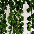 12 Pieces Artificial Grape Leaf Rattan Green Decorative Leaves Realistic Ivy Decoration Home (1 pieces =2.2Meter