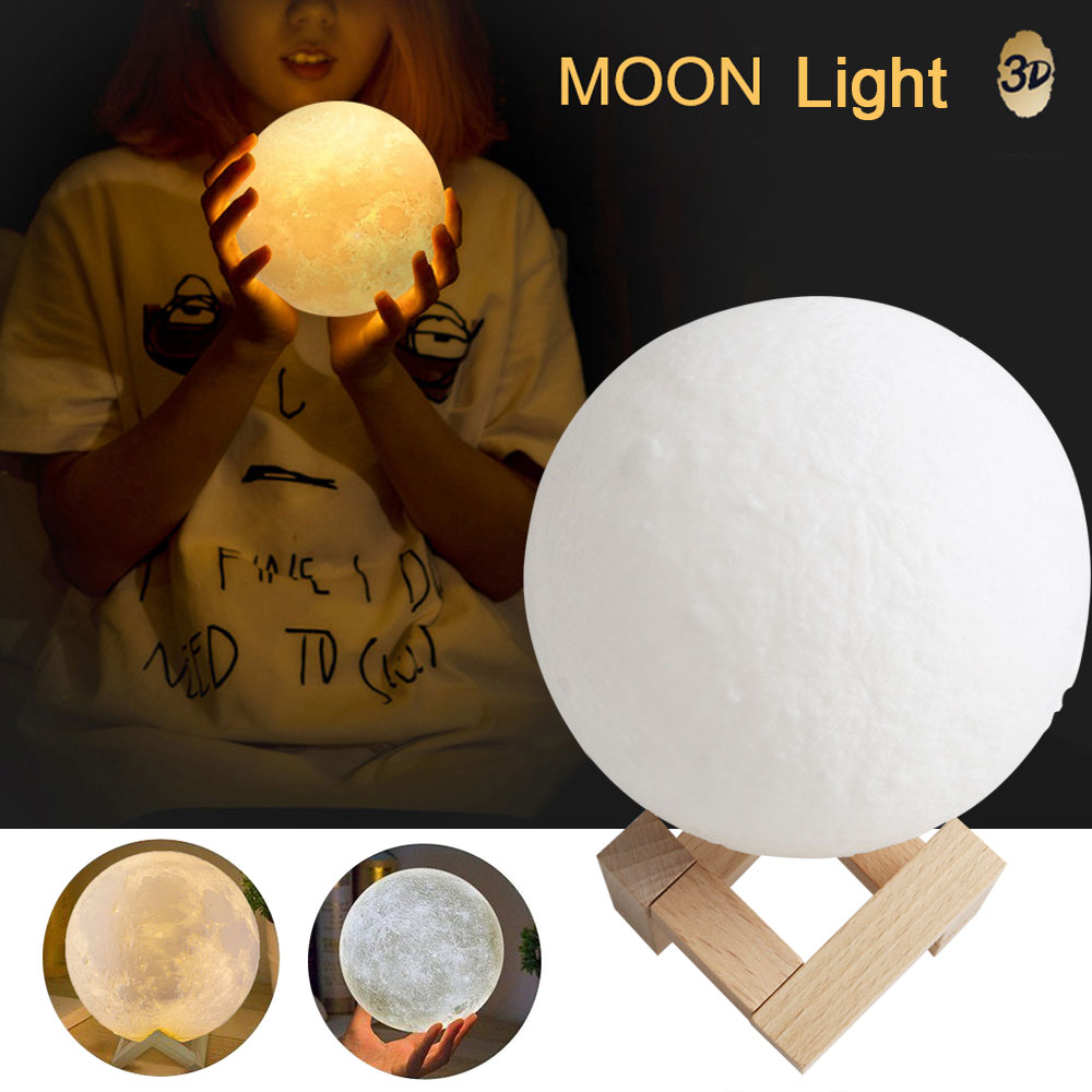 8cm Night Light 3D Moon Lamp USB Rechargieable Touch Control Brightness Adjustable Bedside Lamp Nice Gift Dropshipping