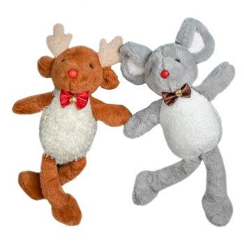 Lindo ciervo Elk Antelope Mouse muñecas árbol de Navidad decoraciones Año nuevo colgante ornamento Santa Claus peluche renos juguetes regalos