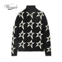 Female winter Women white Star Dust Instarsia Wool Turtleneck Sweater pullover womens black sweater coat thick C 415